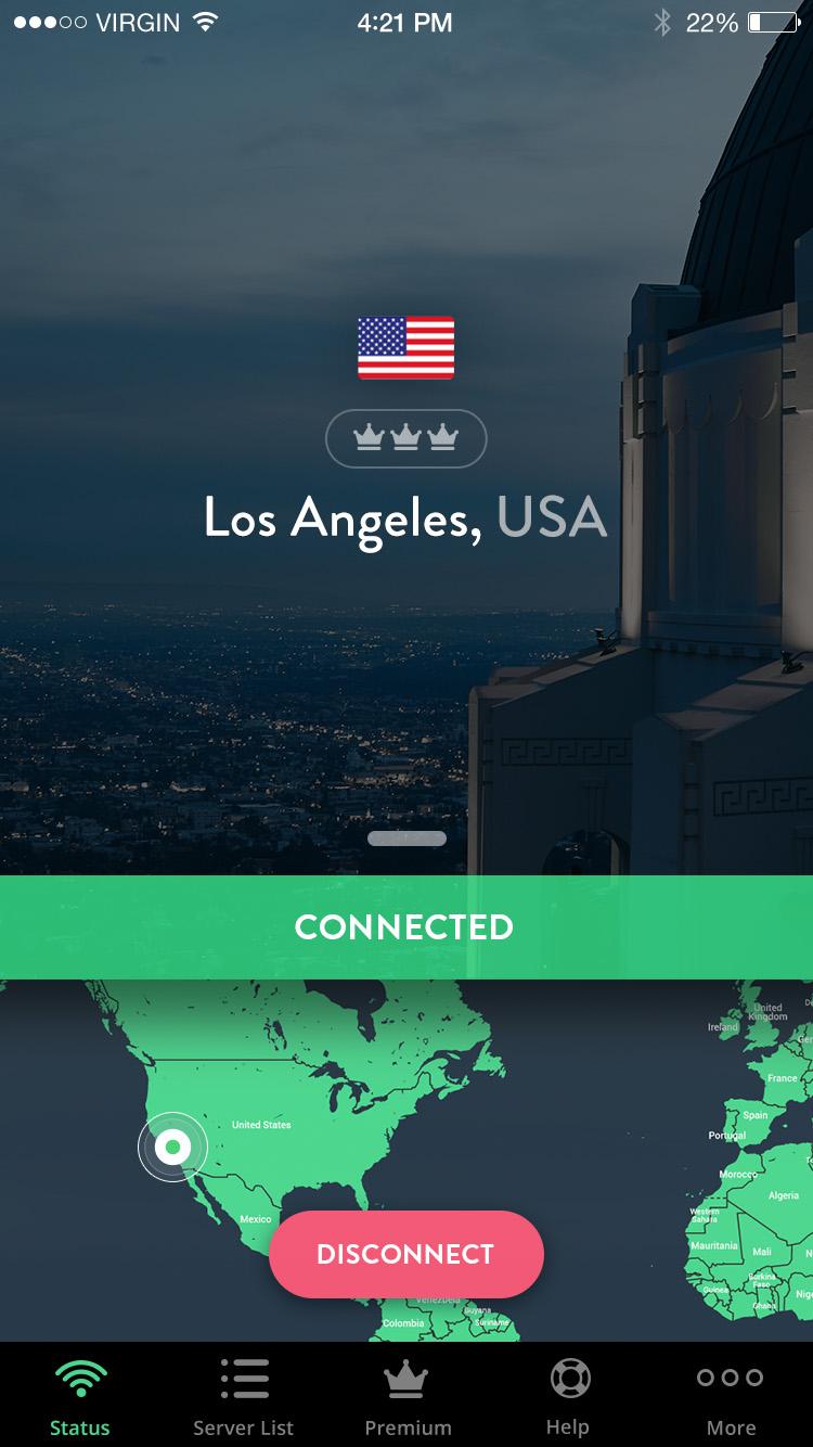 Captura de tela do aplicativo para iPhone/iPad da Shellfire VPN